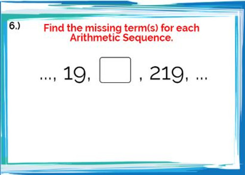 Arithmetic Sequences: Finding the missing term(s) - Google Slides