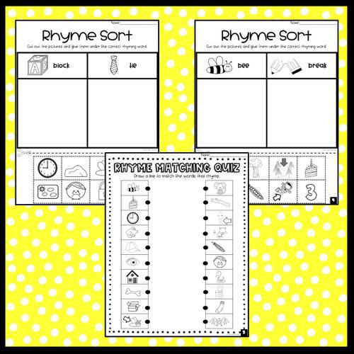 5 Rhyme Activities: Cut & Paste Printables
