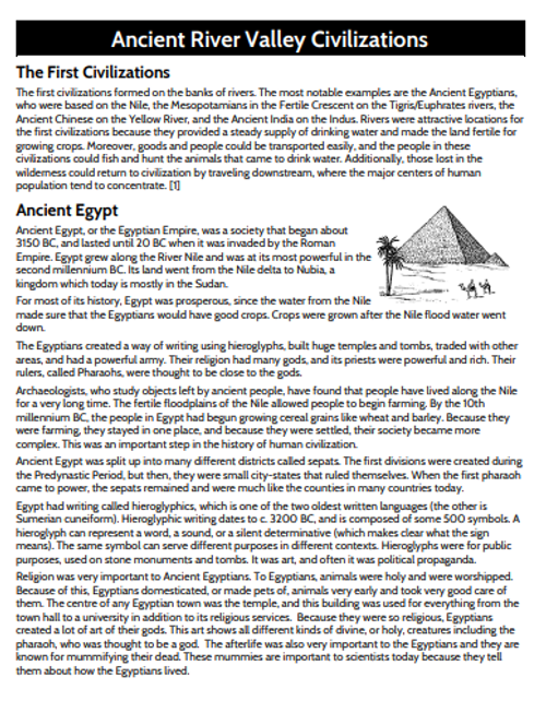 Ancient River Valley Civilizations Comparison Graphic Organizer