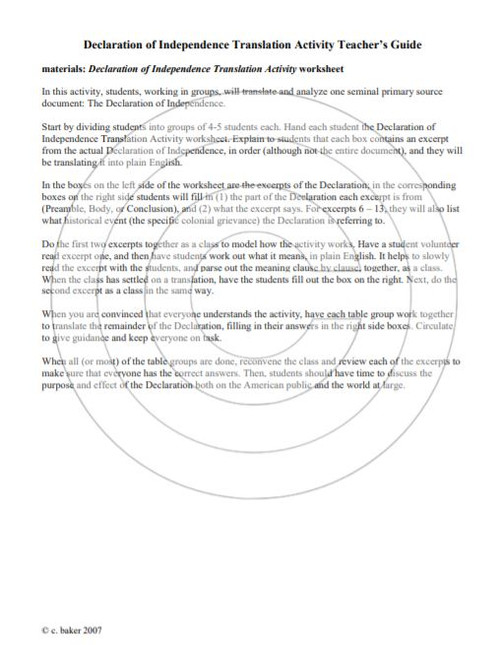 Declaration Of Independence Primary Source Translation And Analysis