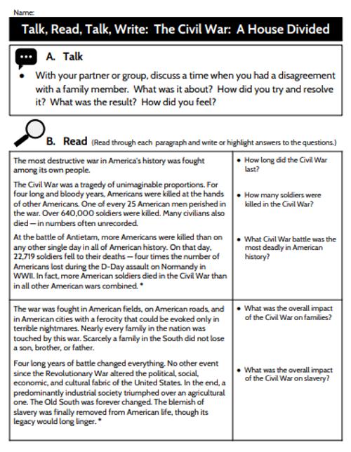 Talk, Read, Talk, Write Lesson - The Civil War:  A House Divided