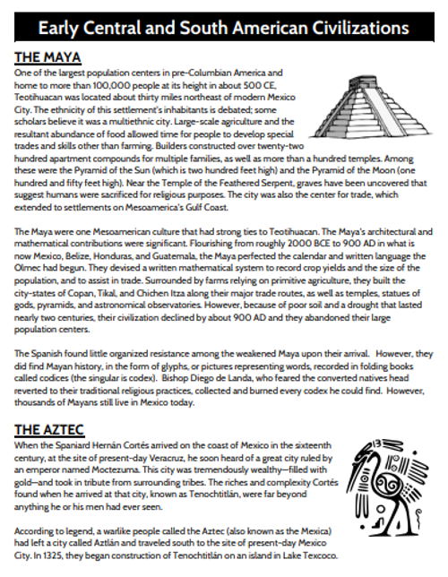 Early Central/South American Civilizations Graphic Organizer