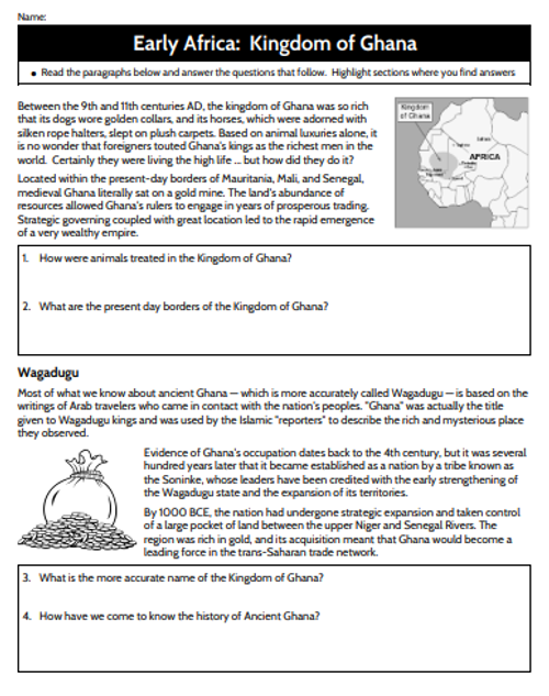 Early Africa - The Kingdom of Ghana Reading
