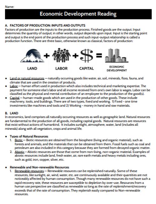 Economic Development and Factors of Production