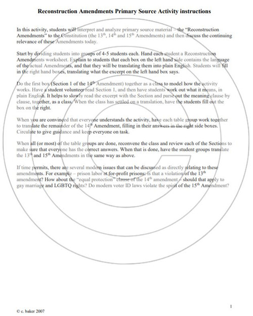 Reconstruction Amendments Primary Source Analysis Activity - Amped ...