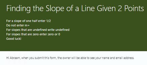 Finding the Slope of a Line given 2 Points: Microsoft Forms Quiz - 24 Problems