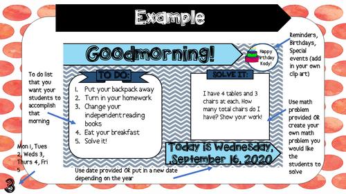 October Editable Morning Message (3rd Grade)-Math Solve It's