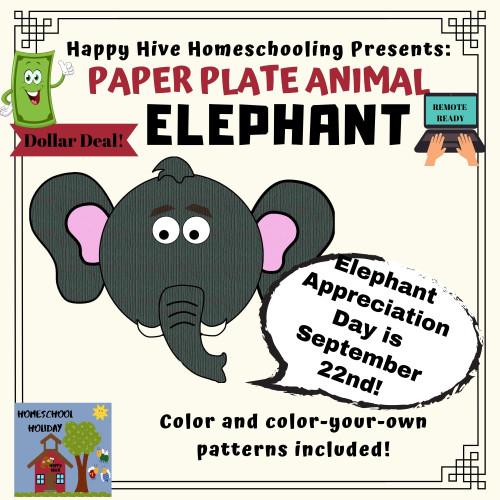 Elephant Paper Plate Animal Craft Paper & DIGITAL version! - Elephant Appreciation Day September 22