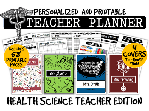 Health Science Teacher Planner- Ready to Print and Customize!