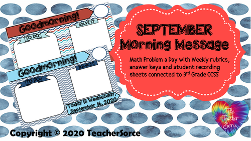 THIRD GRADE: 9 month bundle! Editable Morning Message Solve It (Sept-May