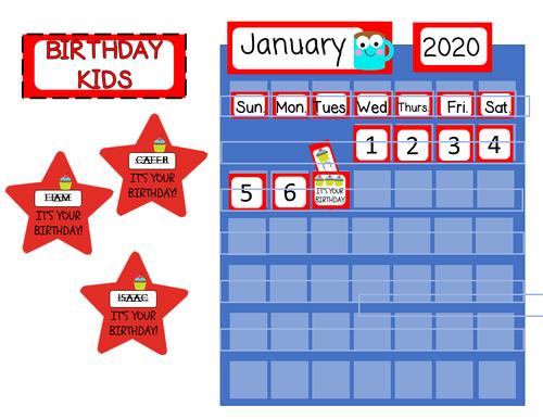 BIRTHDAY DISPLAY WITH CALENDAR CARDS