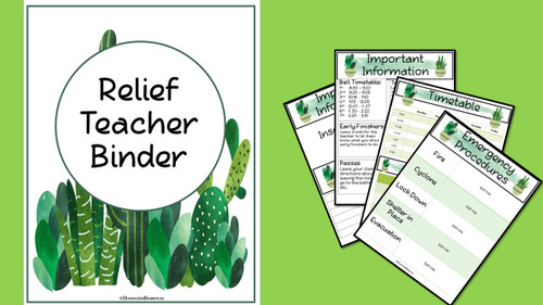 Sub Binder, Relief Teacher Binder - Cactus Design