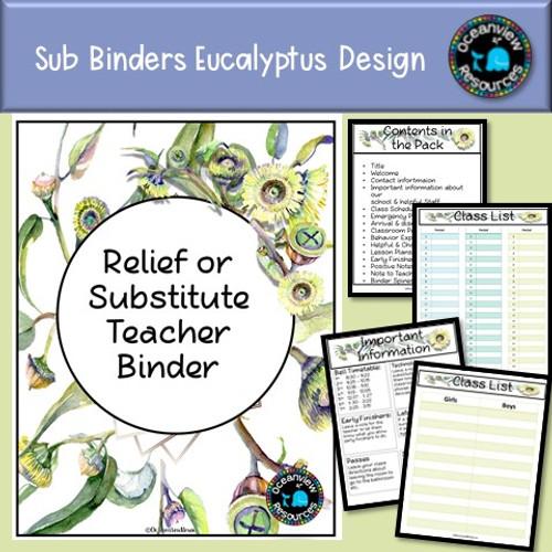Sub Binder, Relief Teacher Binder - Eucalyptus Design