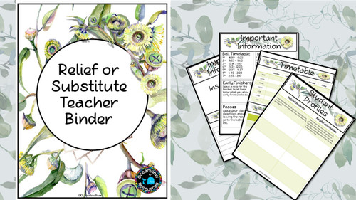 Sub Binder, Relief Teacher Binder - Eucalyptus Design