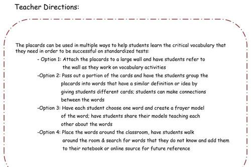 Academic Vocabulary Placards