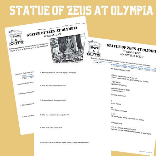 Statue of Zeus WebQuest (Google Compatible)