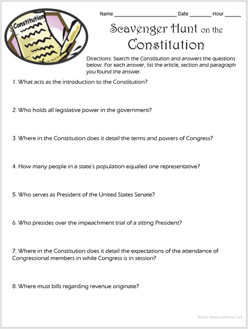 Scavenger Hunt on the Constitution