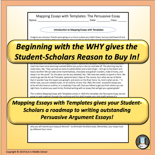 Mapping Essays with Templates: The Persuasive Essay  Remote Ready Resource
