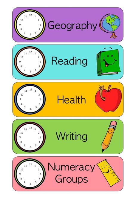 Visual Timetable with Analog Clocks