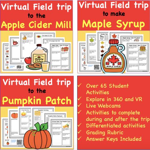Discount Bundle  Fall Favorites Virtual Field Trip Pack- 6 Autumn Trips(Remote Ready Resource)