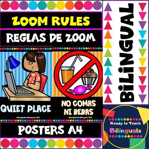 Zoom Rules Posters / Reglas de Zoom Posters - Bilingual Set - Editable Option