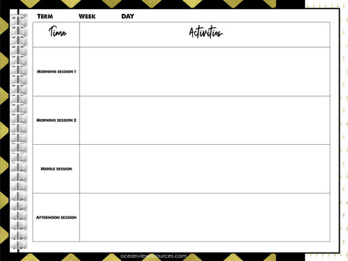 Teacher Planner Binder- Black and Gold design