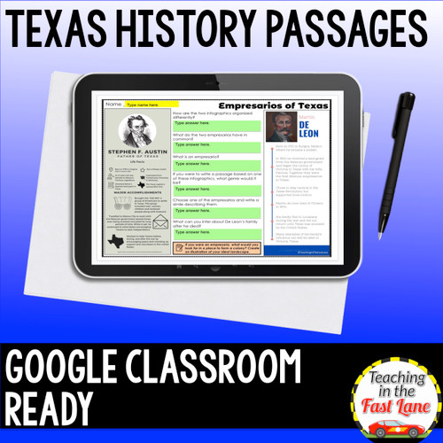 Texas History Passages Growing Bundle {Printable and Digital} Distance Learning
