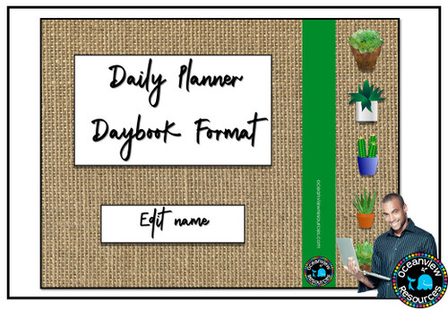 Daybook Planner for Teachers- BURLAP AND CACTUS
