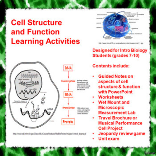 Cell Structure and Function Learning Activities (Distance Learning)