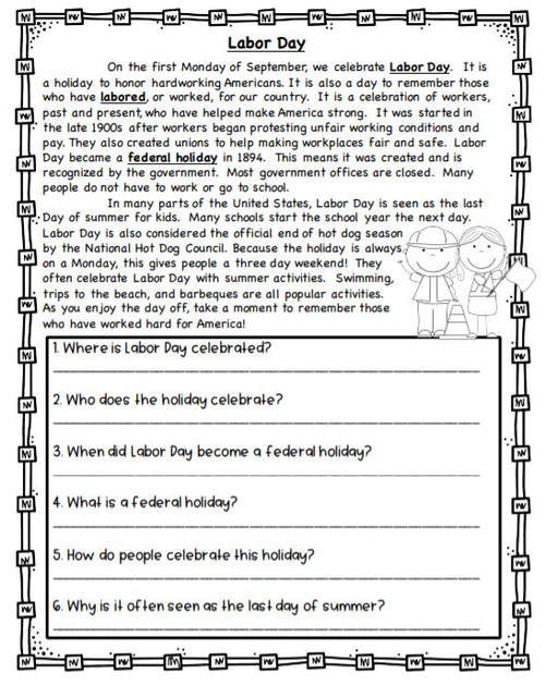 Labor Day Informational Passage & Questions - 4 levels!