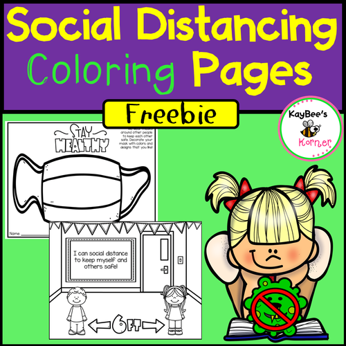 Social Distancing and Masks Coloring Pages