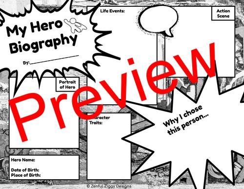 Hero Biography Sketch Notes- No Prep!