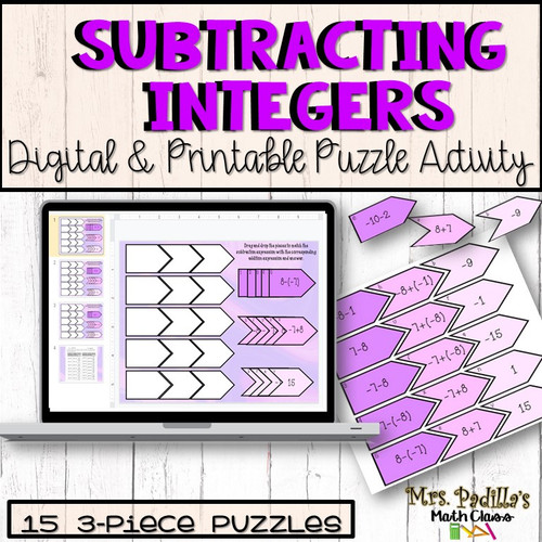 Subtracting Integers Matching Activity