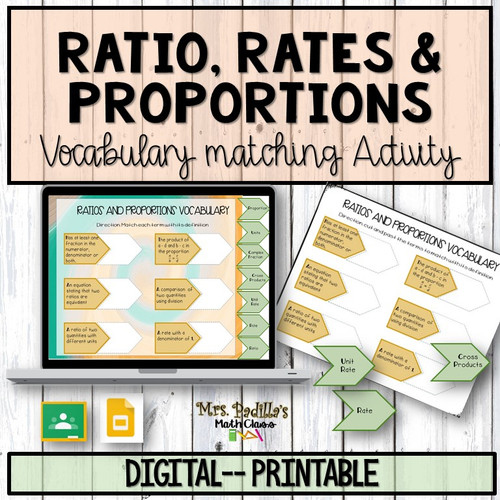 Ratios, Rates, and Proportions Vocabulary Digital/Printable Matching Activity