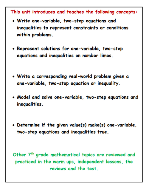 7th Grade Equations and Inequalities Unit
