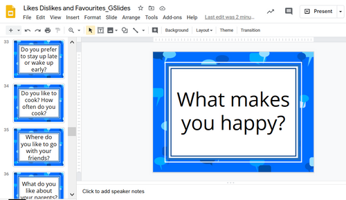 Conversation cards - Likes, Dislikes & Favourites (55 cards) - Google Slides™ and Printable PDF