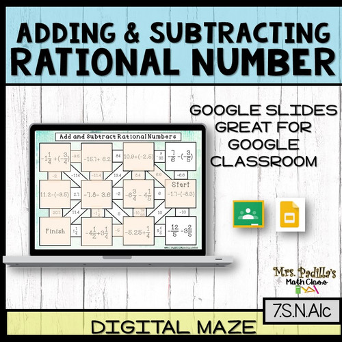 Adding and Subtracting Rational Numbers Digital / Printable MAZE