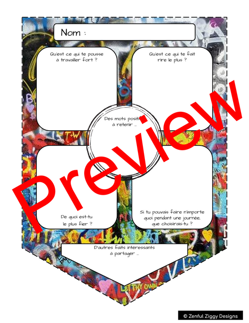 French All About Me Graffiti Pennant- Back to School/ First Day Activity