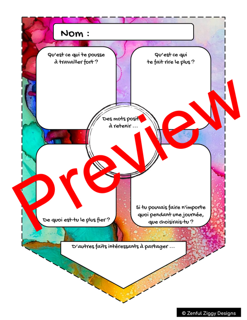 French All About Me Watercolour Pennant- Back to School/ First Day Activity