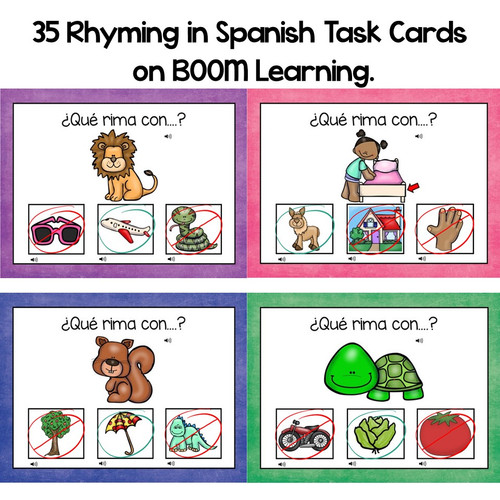 BOOM CARDS-Rhyming in Spanish (Distance Learning)