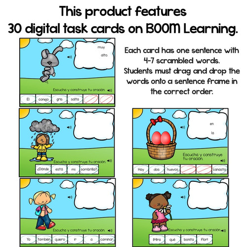 BOOM Cards Build a Sentence-Oraciones revueltas de primavera. Distance Learning