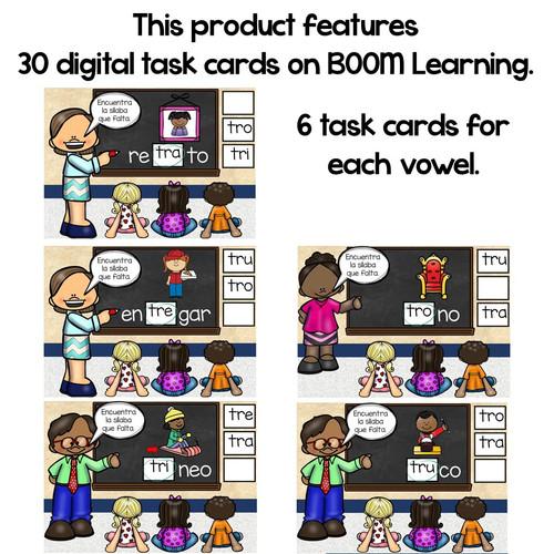 BOOM Cards Sílabas trabadas Tr (tra, tre, tri, tro, tru)- Distance Learning