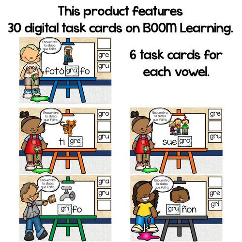 BOOM Cards Sílabas trabadas Gr (gra, gre, gri, gro, gru)- Distance Learning