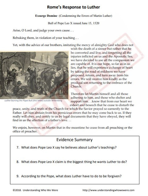 Trial of Martin Luther DBQ and Media Project