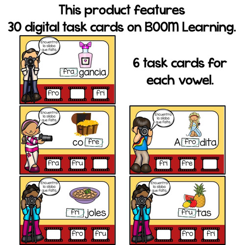 BOOM Cards Sílabas trabadas Fr (fra, fre, fri, fro and fru)- Distance Learning