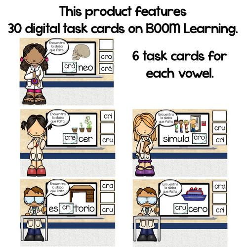 BOOM Cards Sílabas trabadas Cr (cra, cre, cri, cro and cru)- Distance Learning