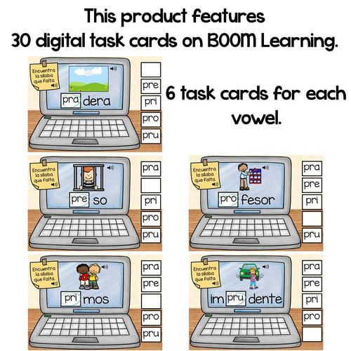 BOOM Cards Sílabas trabadas Pr (pra, pre, pri, pro and pru)- Distance Learning