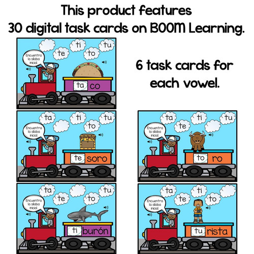 BOOM Cards Sílabas iniciales-ta, te, ti, to, tu (Distance Learning)