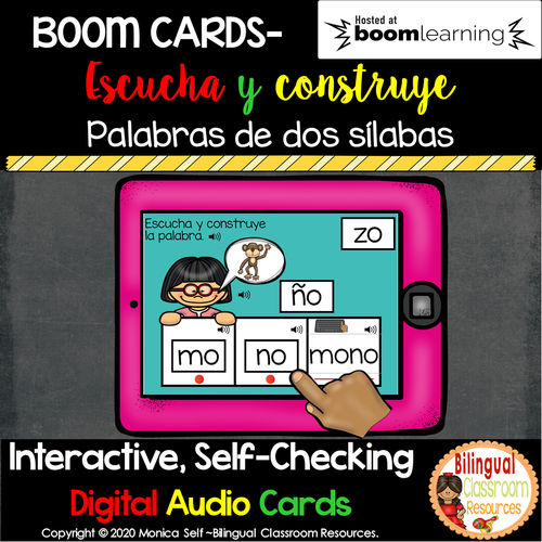 BOOM Cards Escucha y construye palabras de dos sílabas. Distance learning