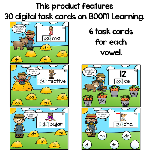 BOOM Cards Sílabas iniciales-da, de, di, do, du (Distance Learning)